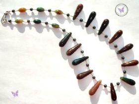 Fancy Jasper, Hematite & Silver Necklace